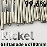 Anode de Nickel, nickel tige 6 x 100 mm, nickel anode, nickel électrode pour nickelage électrolytique, galvanisation, galvanoplastie