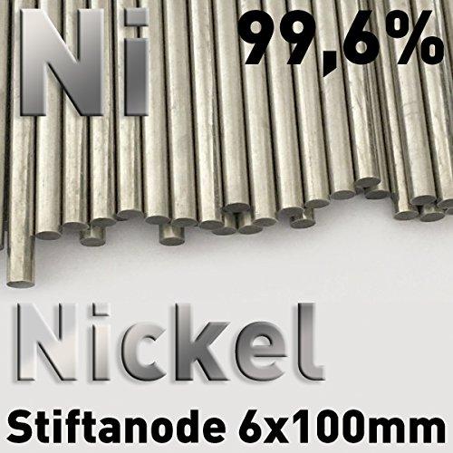 Nickel-Anode, Nickelstab 6 x 100 mm, Nickelstabanode, Nickelelektrode für Galvanik, Vernickeln, Stiftgalvanik, Tampongalvanik