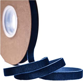 Ribbon for Crafts -Wholesale Bulk 20 Yard 3/8 5/8 1Inch Velvet Ribbon for Gift Package Wrapping Floral Design Hair Bow Clip Accessory Making Sewing Wedding Decor (Navy Blue, 10mm)