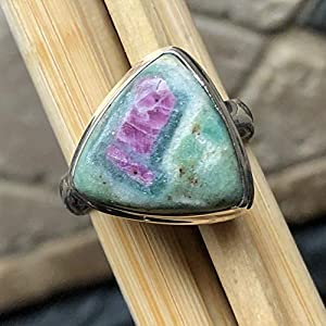 Natural Ruby in Fuchsite 925 Solid Sterling Silver Ring Size 7.75