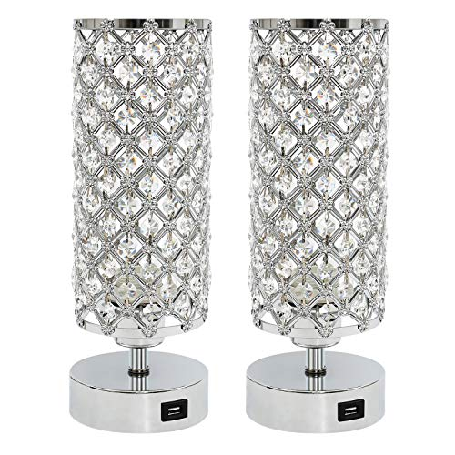 Ganiude Crystal 3-Way Dimmable Touch Table Lamp with USB Charging Port Set of 2,Modern Nightstand Desk Lamp,Elegant Decorative Bedside Lamp for Living Room,Bedroom,Dining Room,LED Bulb Included