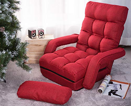MOOSENG Folding Lazy Floor Chair Sofa Lounger Bed with Armrests, Red(Pillow)
