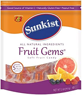 Jelly Belly Sunkist Fruit Gems (Individually Wrapped) - 2 Pound Resealable Pouch Bag - Genuine, Official, Straight from the Source