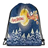 Gym Drawstring Bags Backpack,Santa Claus Airline Theme Vintage Plane Full Moon Snow Covered Trees,Unisex Drawstring Backpack
