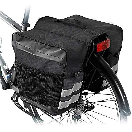 zfdg Borsa per Bicicletta Portapacchi, Borsa Bici Doppia, Borsa Portapacchi Bici, Doppia Borse Bici Posteriore, per Biciclette Outdoor Commute Shopping Equitazione Picnic (Nero)