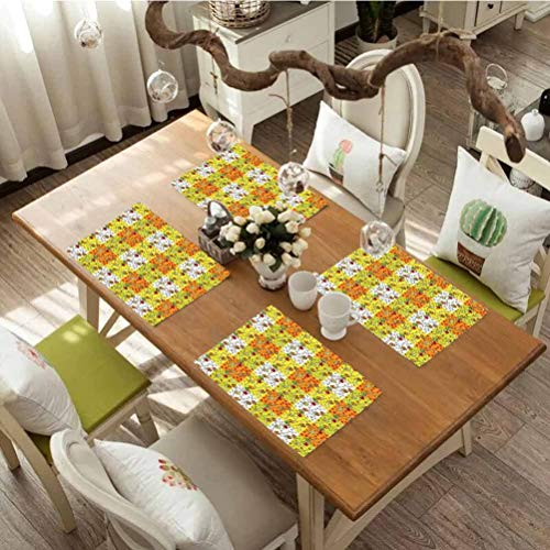 Durable and Non-deformable placemat, Ladybugs Cartoon Style Flowers and Beetles Squares Nature Ornamental Summer, Kitchen Table Mats Easy to Clean, Set of 6