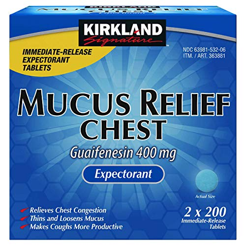 Kirkland Signature Mucus Relief Chest Expectorant (Guaifenesin 400 Mg), ValuePack Pack of 800-Count Immediate-Release Tablets