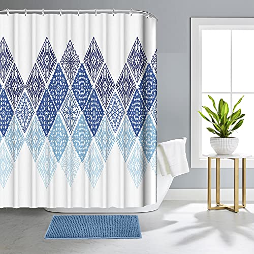Modern Bathroom Shower Curtain Sets with Rugs and Accessories, Bath Decor Navy Blue Teal Shower Curtain Liners Hooks Set Durable Waterproof Fabric 72 X 72 Inch Non Slip Mat Pack of 2