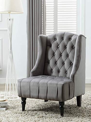 Altrobene Modern Velvet Accent Chair, Living Room/Bedroom/Home Office Chair, Tall Wingback, Tufted Nailhead, Grey