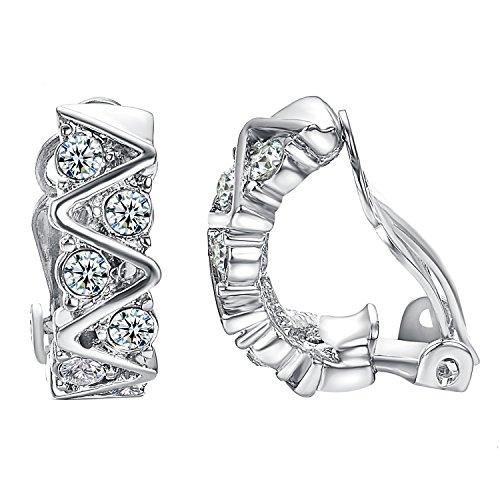 Yoursfs, orecchini a clip con fascia di diamanti, placcati in oro bianco/rosa da 18 k, Placcato oro, colore: White, cod. E397W1