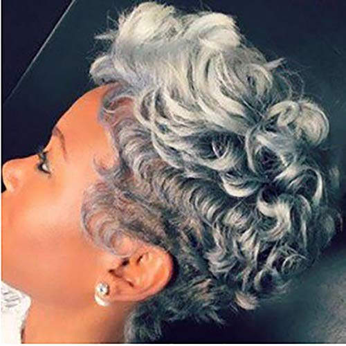 Fluffy Short Curly Grey Hair Wigs for Old Women Silver Gray Black Roots Hair Wigs Heat Resistant Synthetic with Wig Cap 150G