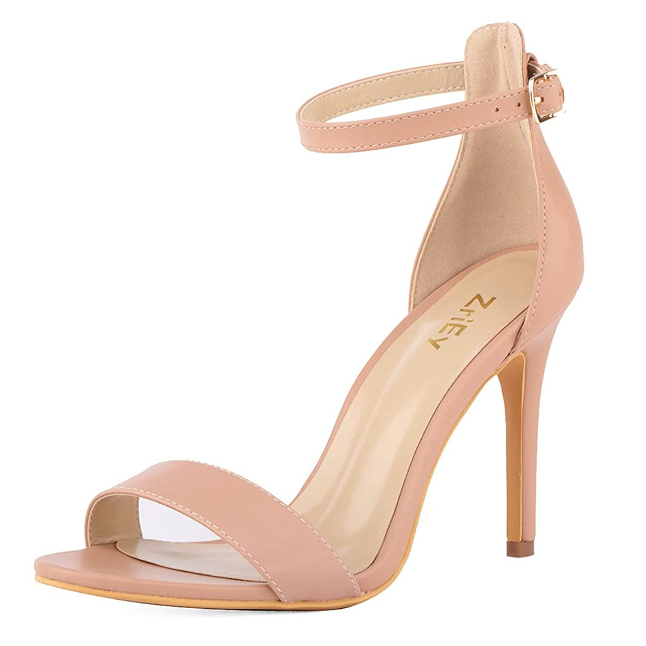 ZriEy Women's Heeled Sandals Ankle Strap High Heels 7CM Open Toe Mid Heel Sandals Bridal Party Shoes