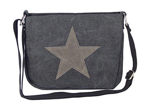 Moderne Canvas Style Umhängetasche - aufgenähter grauer Stern - Vernietung an der Seite - Maße 27 x 21 x 5 cm/ohne Schulterriemen - Damen Mädchen Teenager Tasche (schwarz)