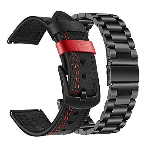 TRUMiRR Kompatibel mit Gear S3 Frontier/Galaxy Watch 46mm Armband, 22mm Doppeltes Echt Leder Armband + Massiver Edelstahl Metall Uhrenarmband für Samsung Gear S3 Frontier, Huawei Watch GT/GT 2 (46 mm)