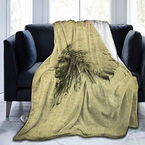 BCVHGD Ropa de Cama Liviana y cómoda, Dibujo de Cabeza Vintage de Pluma de Jefe Indio Nativo Americano marrón, una Manta Adecuada para Todas Las Estaciones es Adecuada para 50
