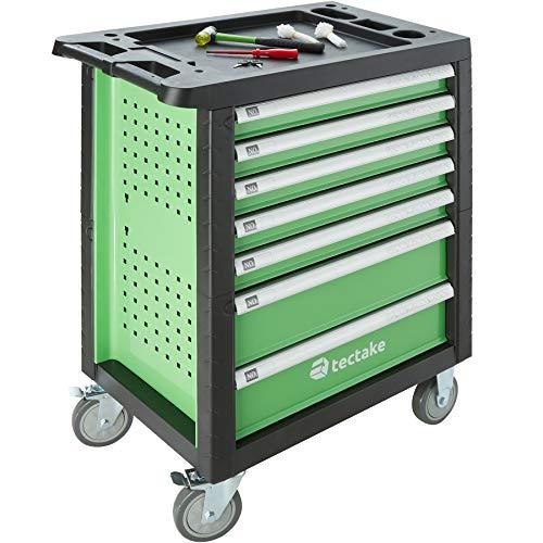 tectake 403387 Werkzeugwagen gefüllt mit Werkzeug, 1199-tlg, Werkstattwagen mit 7 Schubladen, 4 bestückte Schubfächer, abschließbar, Montagewagen auf Rollen, grün schwarz