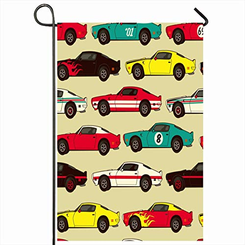 Outdoor Garden Flags 12,5 'x 18' Zoll Red Race American Muscle Classic Rennsportwagen Blue Pattern Grafik Vintage Boys Vertikale doppelseitige Home Decorative House Yard Sign