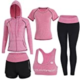 BOTRE 5 Piezas Conjuntos Deportivos para Mujer Chándales Ropa de Correr Yoga Fitness Tenis Suave Transpirable Cómodo (Rosa, S)
