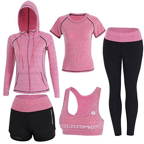 BOTRE 5 Pezzi Tute da Ginnastica Donna Tute Sportive Yoga Fitness Palestra Running Jogging Completi Sportivi Abbigliamento (Rosa, M)