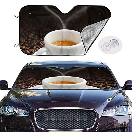 KDU Fashion Windschutz Sonnenschutz,Weiße Keramische Kaffeetasse Und Kaffeebohnen-Sonnenschutz-Schützende Auto-Frontscheiben-Sonnenschutzschirme Für Auto-SUV-LKW 70x130cm
