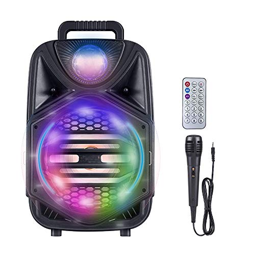 New Portable Karaoke Machine with Wired Microphone, Bluetooth Rechargable Outdoor Speaker, 8'' Subwo...
