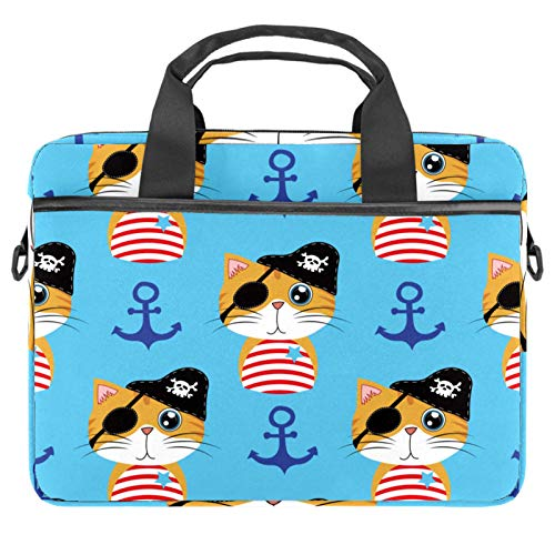 Laptop Bag Nautical Pirate Cat Anchor Pattern Notebook Sleeve with Handle 13.4-14.5 inches Carrying Shoulder Bag Briefcase