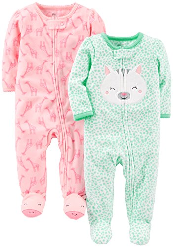 Simple Joys by Carter's Baby Girls' 2-Pack Fleece Footed Sleep and Play, Kitty/Giraffe, 6-9 Months
