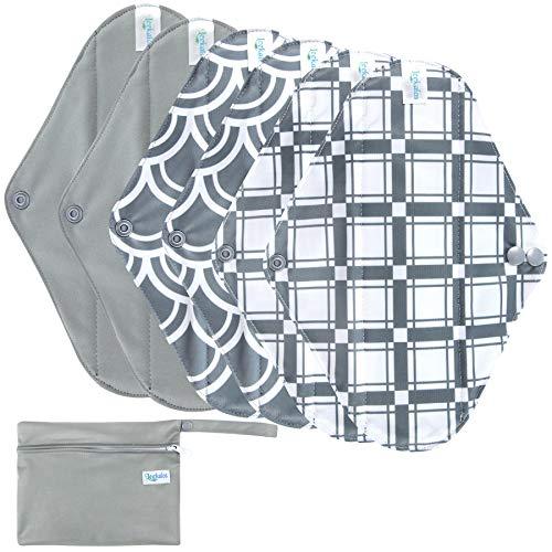 Leekalos Reusable Menstrual Pads - Bamboo Menstrual Cloth Pads | Light Incontinence Pads | Reusable Sanitary Pads - Pack of 6, 1 Cloth Mini Wet Bag (M,Grey)
