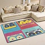 coosun Audio Kassette Retro Pop Art Musik Hintergrund Bereich Teppich Teppich rutschfeste Fußmatte Fußmatten für Wohnzimmer Schlafzimmer 91,4x 61cm, Textil, multi, 36 x 24 inch