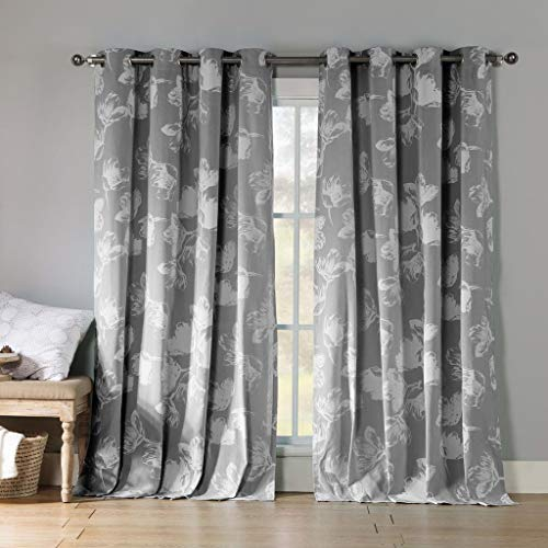Kensie - Aster Floral Cotton Blend Grommet Top Window Curtains for Living Room & Bedroom - Assorted Colors - Set of 2 Panels (54 X 84 Inch - Grey)