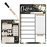 Weekly Meal Planner Dry Erase Board for Refrigerator - Magnolia Magnetic Weekly Menu Board for Kitchen Conversion Chart Magnet, Magnetic Meal Planner for Refrigerator, Magnetic Menu Board for Fridge