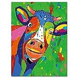 Pintar por Numeros Adultos Niños Pinturas por Numeros Cuadro Pintar con Numeros,Colorear por Numeros, colorida Vaca animal DIY Pinturas de óleo Kit con Pinceles y Pinturas Sin Marco 30 × 40cm