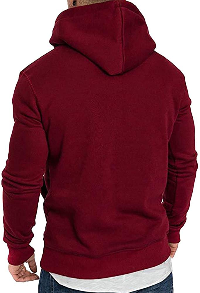 Hoodies for Men Pullover Casual Stitching Color Men's Athletic Sweatshirt Long Sleeve Drawstring Hoodies Outwear