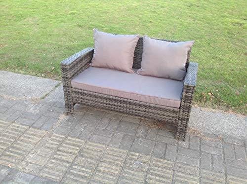 Fimous 2 Seater Rattan Sofa Patio Outdoor Garden Furniture With Cushion