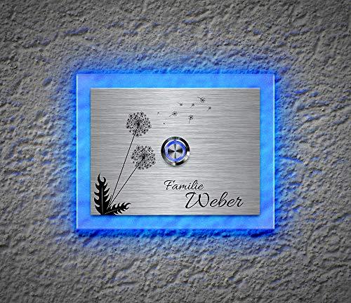 Beleuchtete Edelstahl Türklingeln mit Gravur und über 100 Motive | Gravierte Klingelplatte mit Led-Beleuchtung Größe: 12x9 cm Klingel-Taster Klingelschild Namen Modell: Fuchs-L