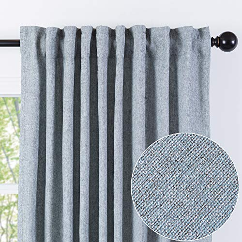 Chanasya Two Color Tone Textured Curtain Panels for Living Room Bedroom Windows Patio Office - Partial Room Darkening Window Treatment Drapes for home Decor (Set of-2) 52x96 Inches Panels - Light Blue