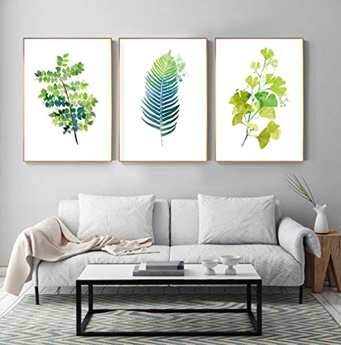 Mosterd Groene Poster en Print Groen Fijn Blad Plant Canvas Schilderij, Woonkamer Slaapkamer Muurdecoratie Schilderijen 50x70cmx3 geen Frame