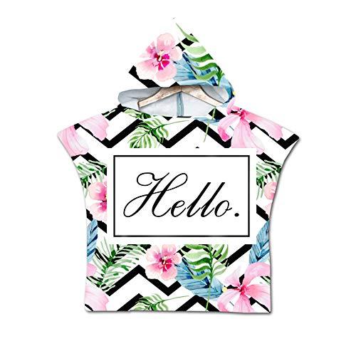 NAID Tropical Flower Print strandhanddoek badjas kinderen capuchon handdoek poncho handdoek vakantie zomer voor jongens meisjes 60 * 80 cm