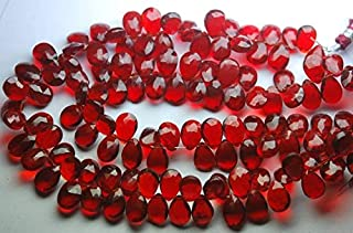 Jewel Beads Natural Beautiful jewellery 8 Inch Strand,Superb-Finest Quality,Ruby Red Quartz Faceted Pear Shape Briolettes, 7x10mm size,Code:- JBB-37572