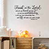 Trust in the Lord With All Your Heart..Proverbs 3:5-6 Vinyl Lettering Wall Decal Sticker (16.5'H x 30'L, Black)