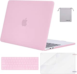 MOSISO MacBook Pro 13 inch Case 2019 2018 2017 2016 Release A2159 A1989 A1706 A1708, Plastic Hard Shell &Keyboard Cover &Screen Protector &Storage Bag Compatible with MacBook Pro 13, Clear Pink