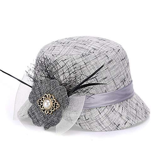 Read About Hat Ladies Hat Linen Fashion Sun Hat Sun Hat Sun Hat Hat (Color : Grey, Size : M56-58cm)