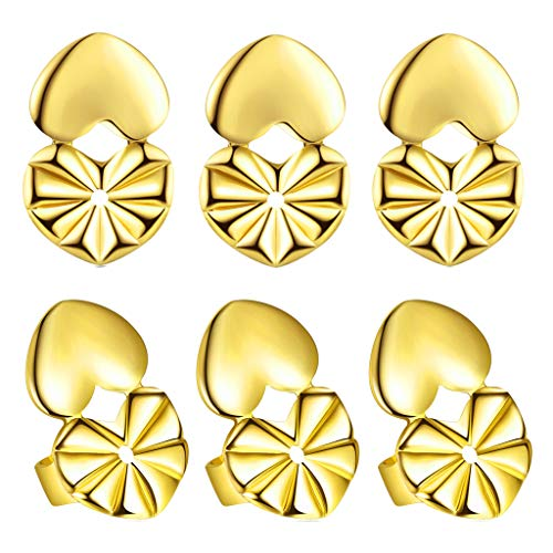 Ear Lifters Stud Earring Backings As Seen On TV, Ear Lifts for Drooping Heavy Large Earrings Safety Lobe Support Gold Tone
