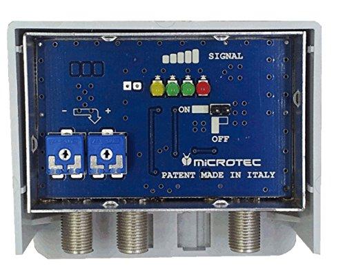 Amplificatore da palo per antenne digitali con visualizzatore dell intensità del segnale ricevuto. Un ingresso logaritmico (VHF+UHF), un ingresso UHF, guadagno 29 dB, per zone con segnale medio-debole.