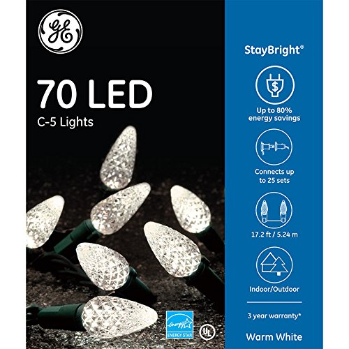 Led GE C-5 Lights Warm White - Green Wire 70ct
