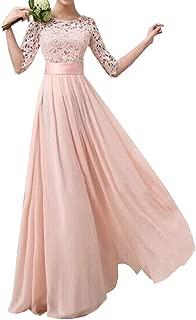 Women Crochet Half Sleeve Lace Top Chiffon Wedding Bridesmaid Gown Prom Dress