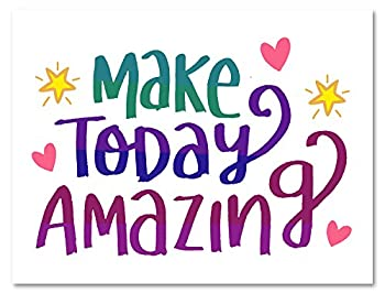 Make Today Amazing Greeting Card - Motivational Inspirational Cards - Blank on the Inside - Includes Cards and Envelopes - 5.5 x4.25   24 Pack