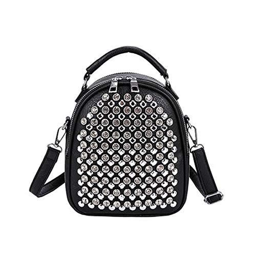 Moda remache diamante mujeres mochila pequeño multifuncional mujer bolso de hombro pu cuero bolsas de escuela para adolescentes niñas