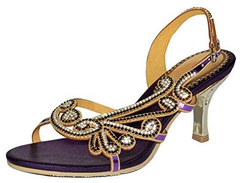 Honeystore Damen's Schaffell Strasss Handgemacht Stilett Sandalen Violett 39.5 EU