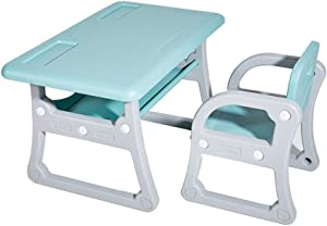 EXCLVEA-TCS Baby Activity Table- Activity Table With Chairs Play Set For Children Baby Play Table  Color Blue  Size 79x50 52x39 5cm